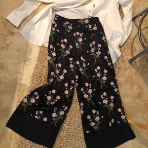 NWT WAREHOUSE 100% SILK CROPPED WIDE LEG PANTS